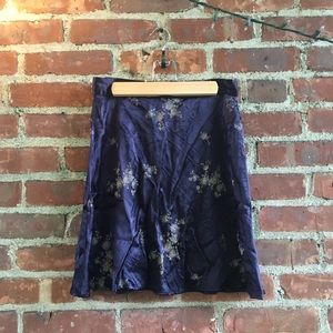 silky purple floral skirt